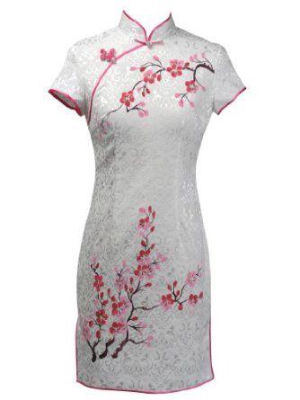 Topwedding Pure Cotton Mini Qipao Cheongsam with Blossom Price: $34.69 You Save: $14.00 (28%)