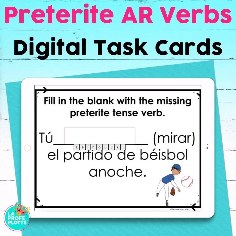 Preterite Ar Verbs Spanish Boom Cards Digital Task Cards Distance Learning Video Video Teacher Resources Language Resources Spanish Lesson Plans [ 1000 x 1000 Pixel ]