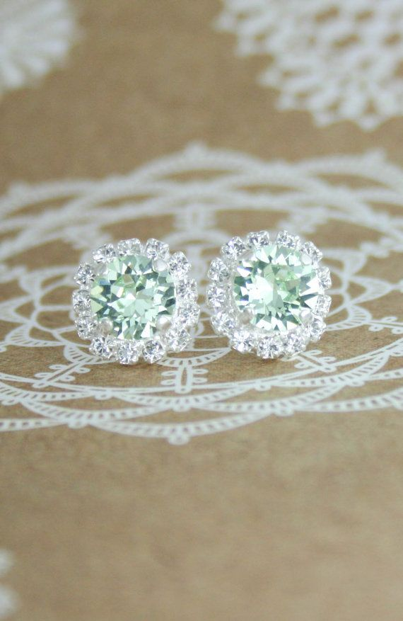 Mint earrings,mint green crystal earrings,Swarovski ...