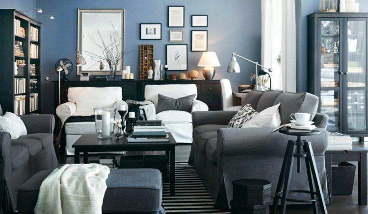 peinture bleu gris lintrieur le bleu pigeon et le bleu ardoise adapts tout espace - Salon Bleu Et Gris