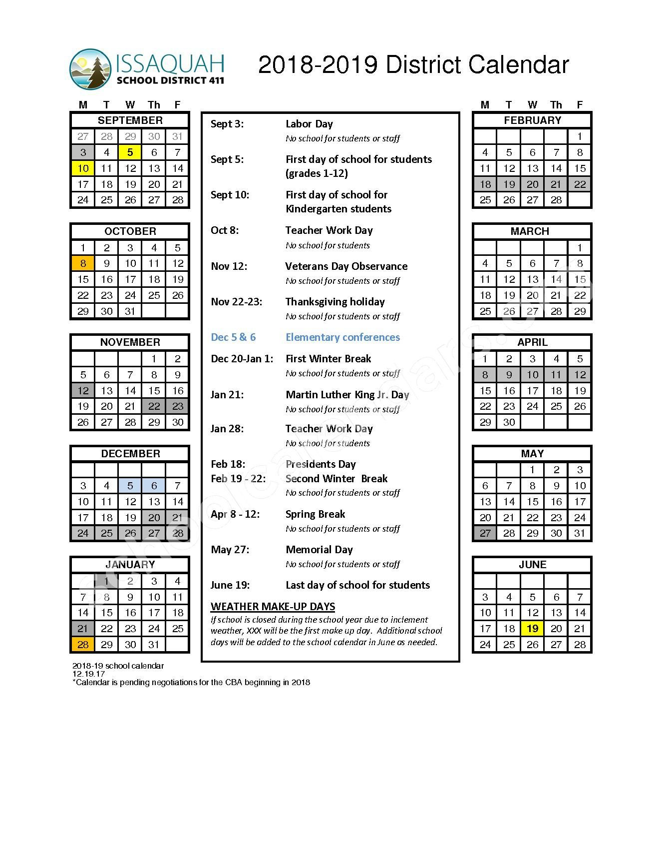 Issaquah School District Calendar Free Images Download https://