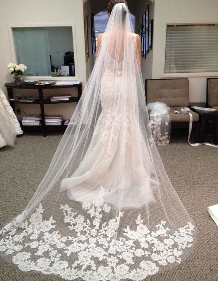 White Vintage Cheap Tulle Bride Cathedral Long Bridal Lace Wedding