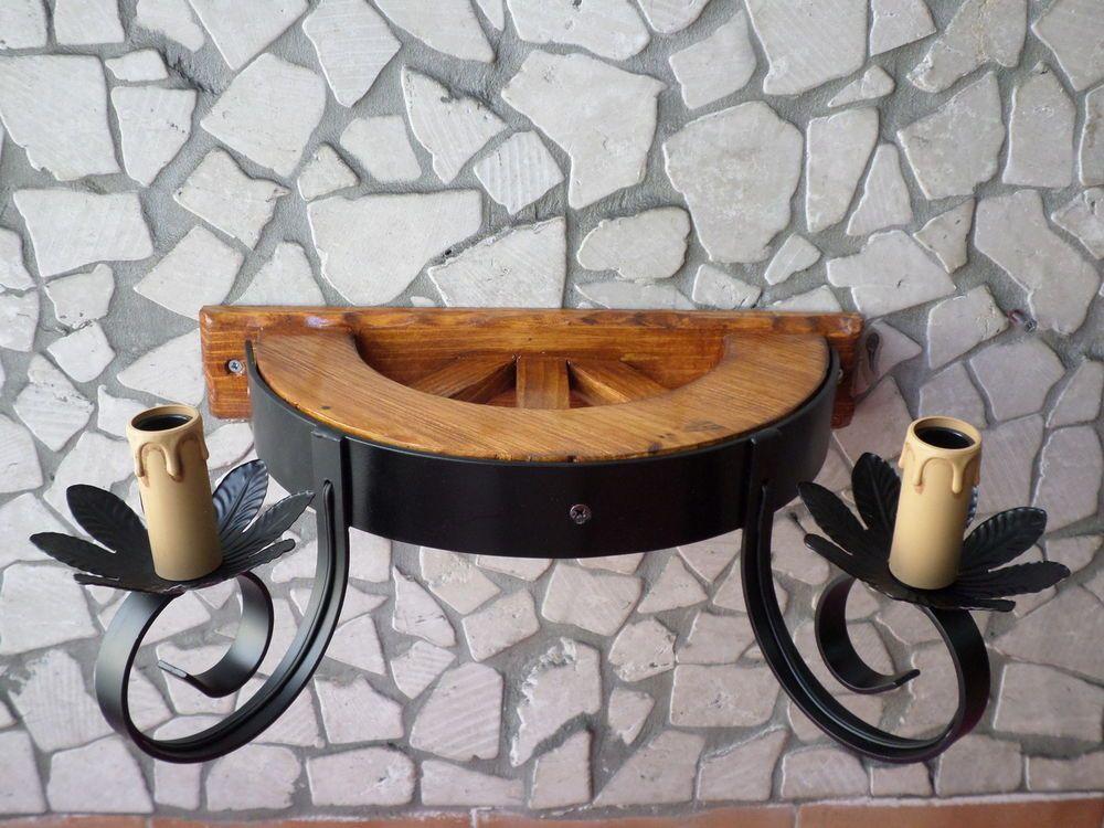 Lampadario a ruota rustico applique lampada 2 luci in ferro battuto