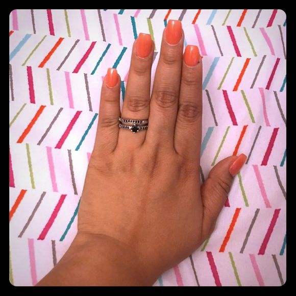 Black stone wedding set Size 7 black stone .925 Jewelry Rings
