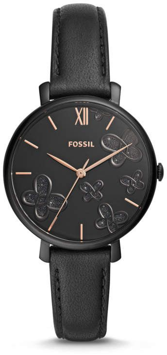 ccf9f661a57 Fossil Jacqueline Three-Hand Black Leather Watch jewelry in 2019 ...