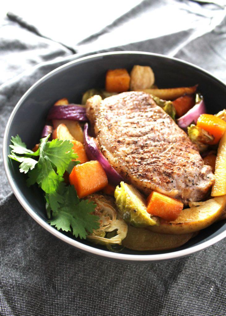 simple pork chop sheet pan supper