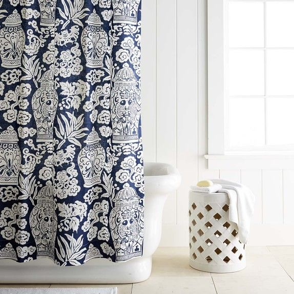 Printed Linen Ginger Jar Shower Curtain Green With Images