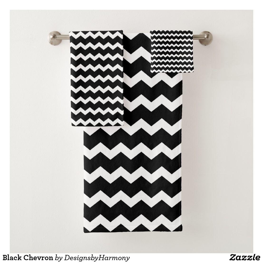 Black Chevron Bath Towel Set Zazzle Com White Bathroom