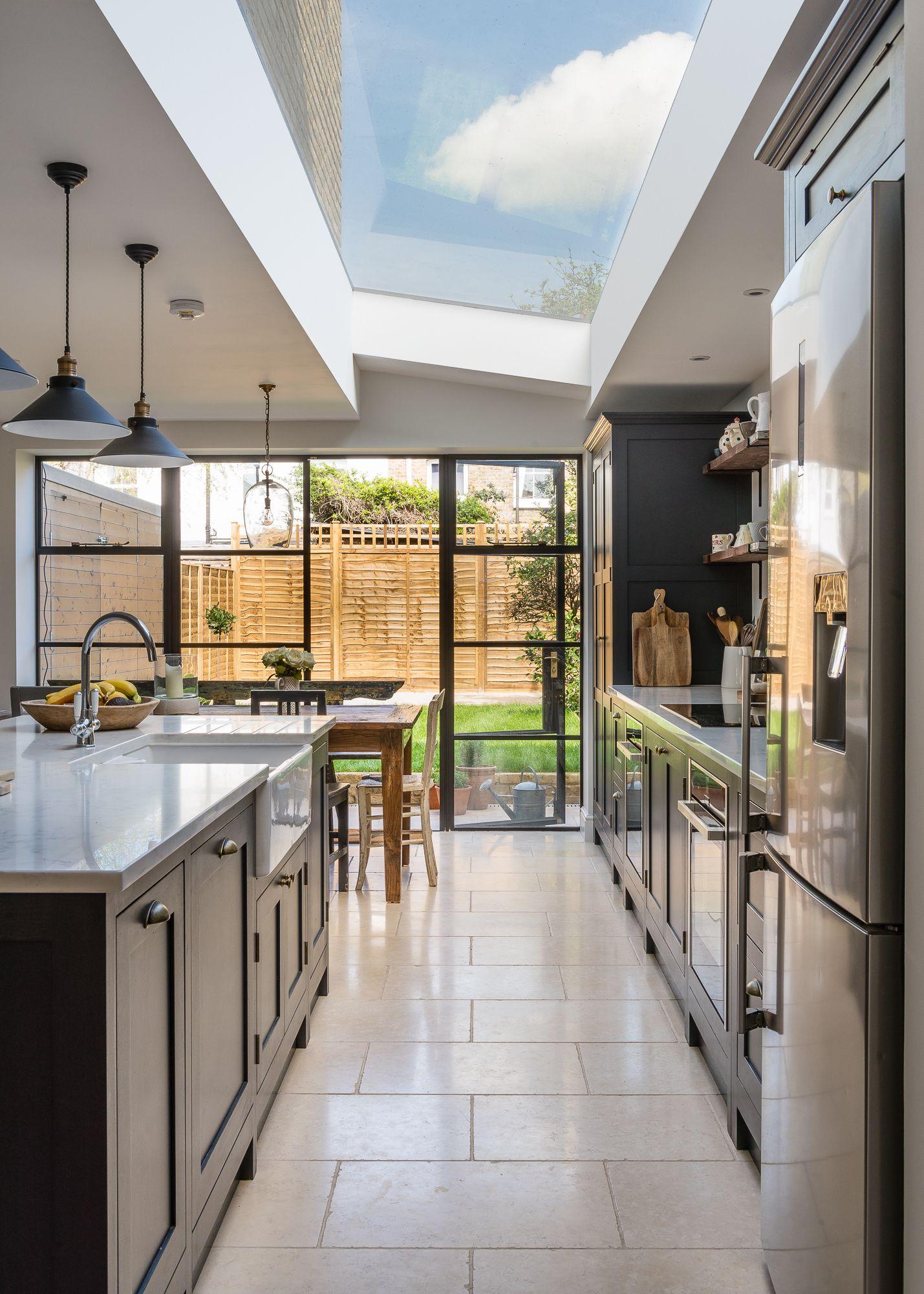 Shaker Kitchen With Crittal Doors Open Plan Kitchen Dining Living Kitchen Extension Open Plan Kitchen Living Room