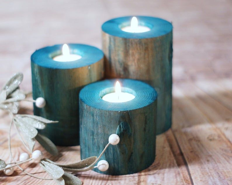 Wood Candle Holders Beach Decor Coastal Decorations Rustic Nautical Seaside Bathroom Table Living Room Mantle Southern Cottage Blue In 2020 Wood Candle Holders Candle Holders Teal Candle Holders