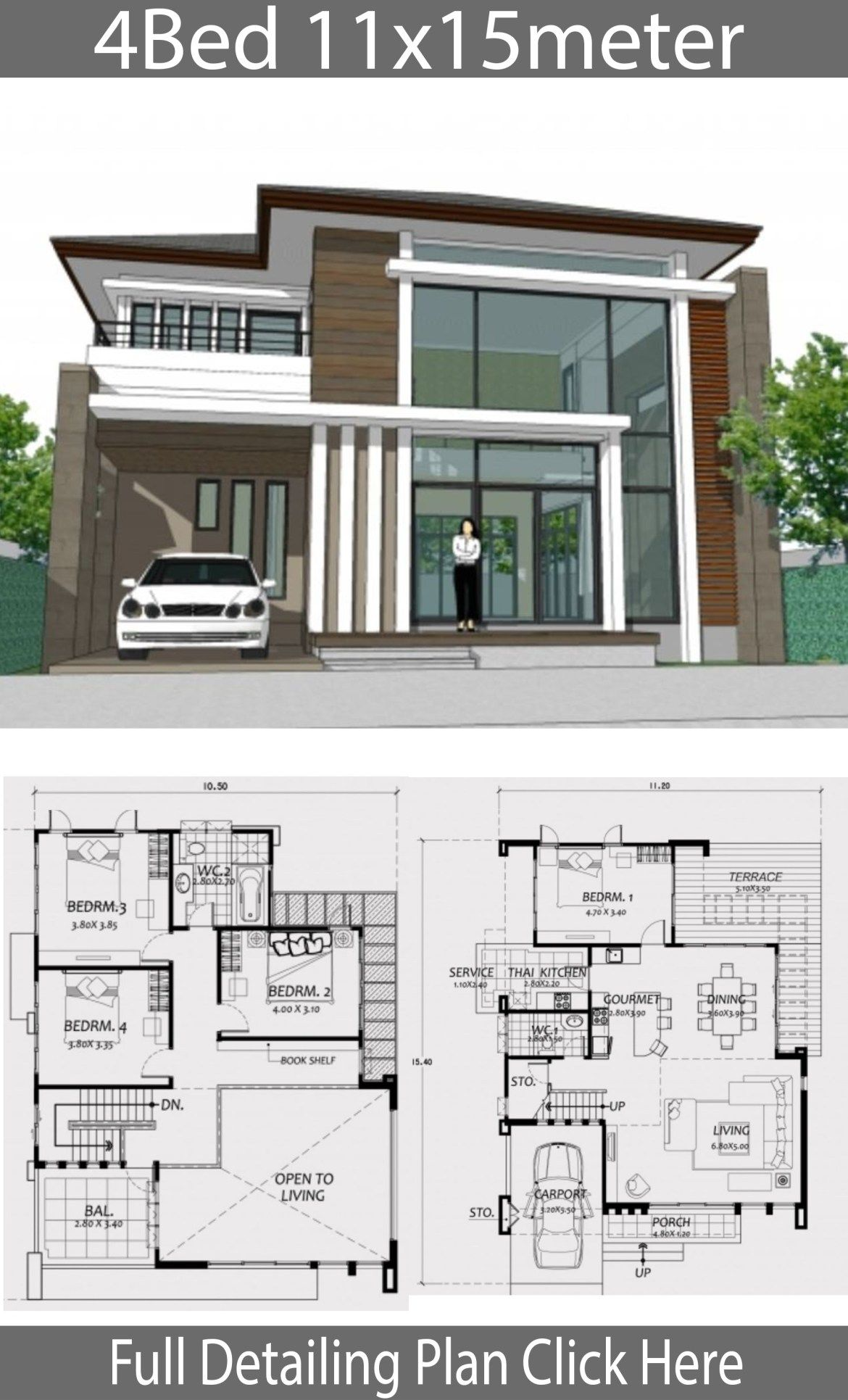 Home Design 11x15m With 4 Bedrooms Home Planssearch House Plans Modern House Plans House Design