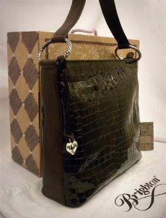 Brighton H30785 Cher Bronze Brown Croc Embossed Patent Leather Shoulderbag Handbags