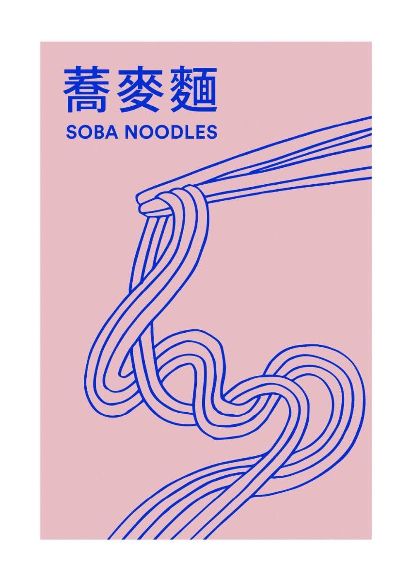 Für diejenigen, die japanische Küche lieben, ist dieses Poster ein Muss. Eine bunte und stilvolle Illustration von Soba-Nudeln, die der Küche ein warmes und fröhliches Gefühl verleiht. Eine körnige Hintergrundtextur macht diese Illustration fließend. Das Soba Noodles-Poster hat ein eingebautes weißes Passepartout, das das Motiv elegant umrahmt.