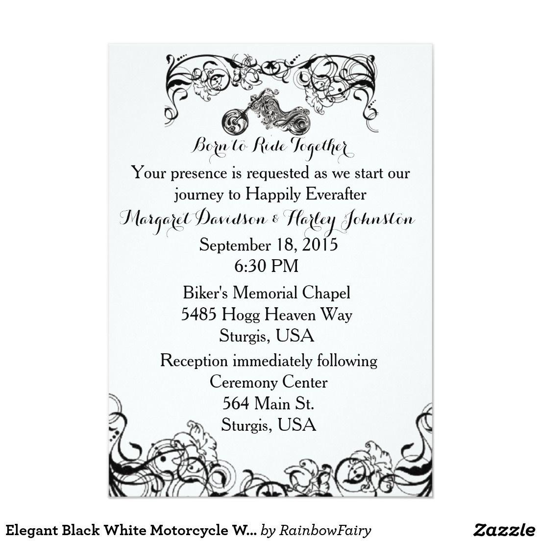 Elegant Black White Motorcycle WEDDING INVITATION   Weddings, Black ...