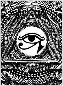 Coloring Page Mystic Eye Tattoo Illuminati Tattoo Eye