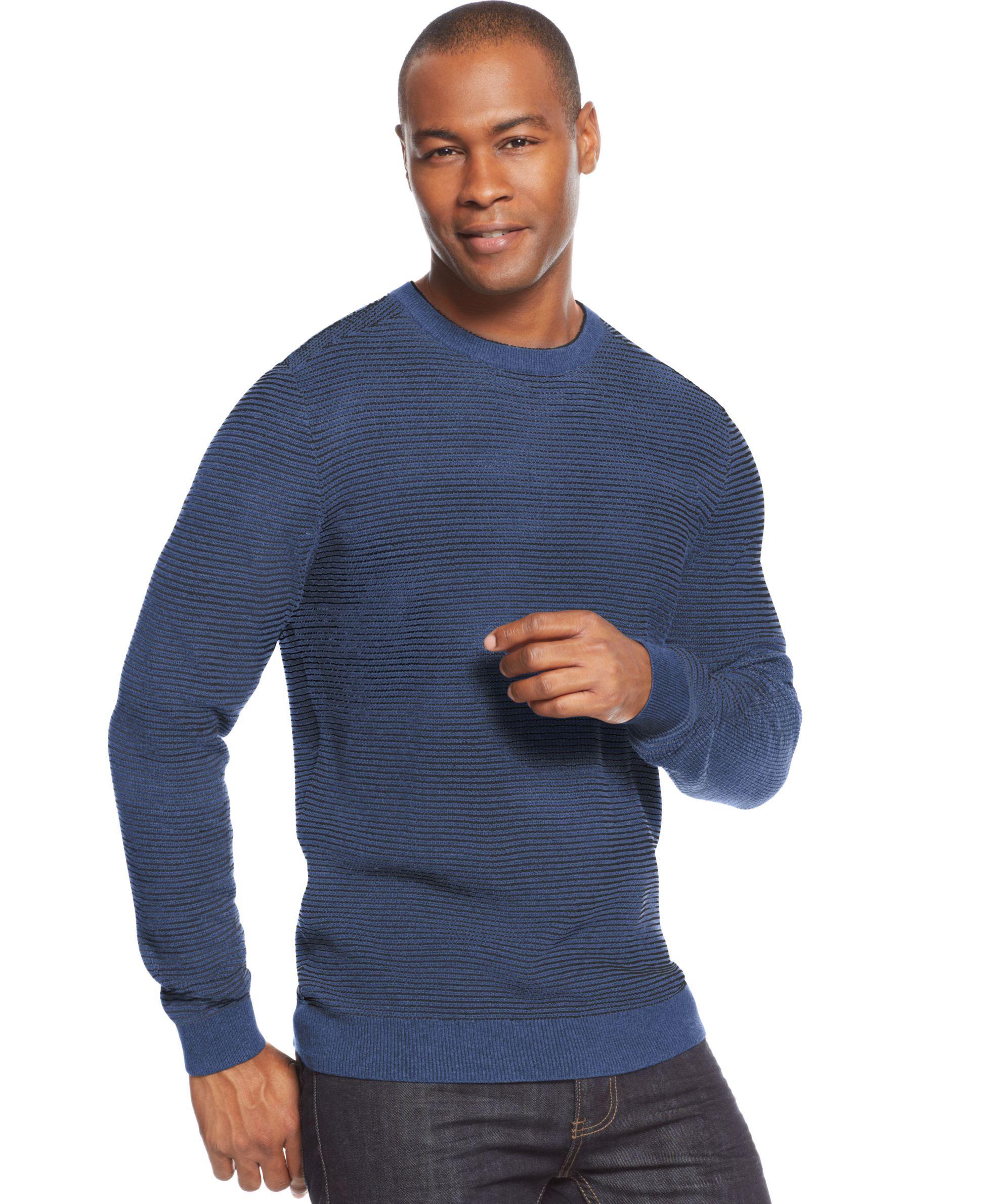 Tasso Elba Striped Crew Neck Sweater Crew Neck Sweater Sweaters