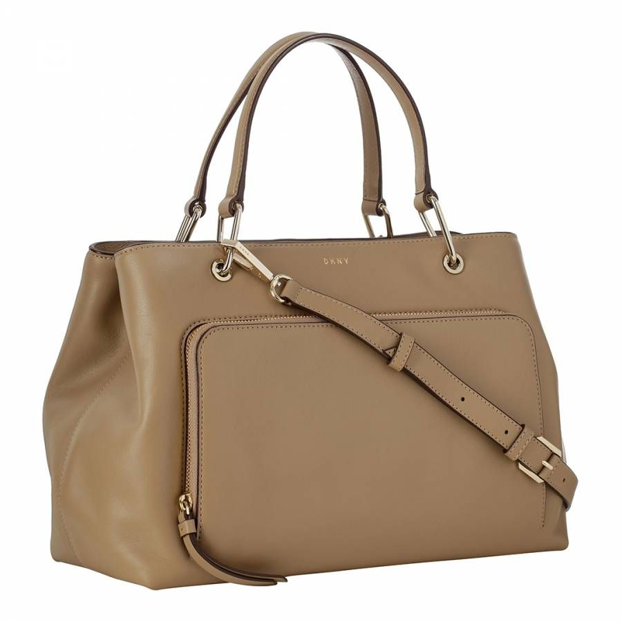 15d5963ddce6 DKNY Beige Leather Bryant Park Medium Satchel | BrandAlley Bags ...