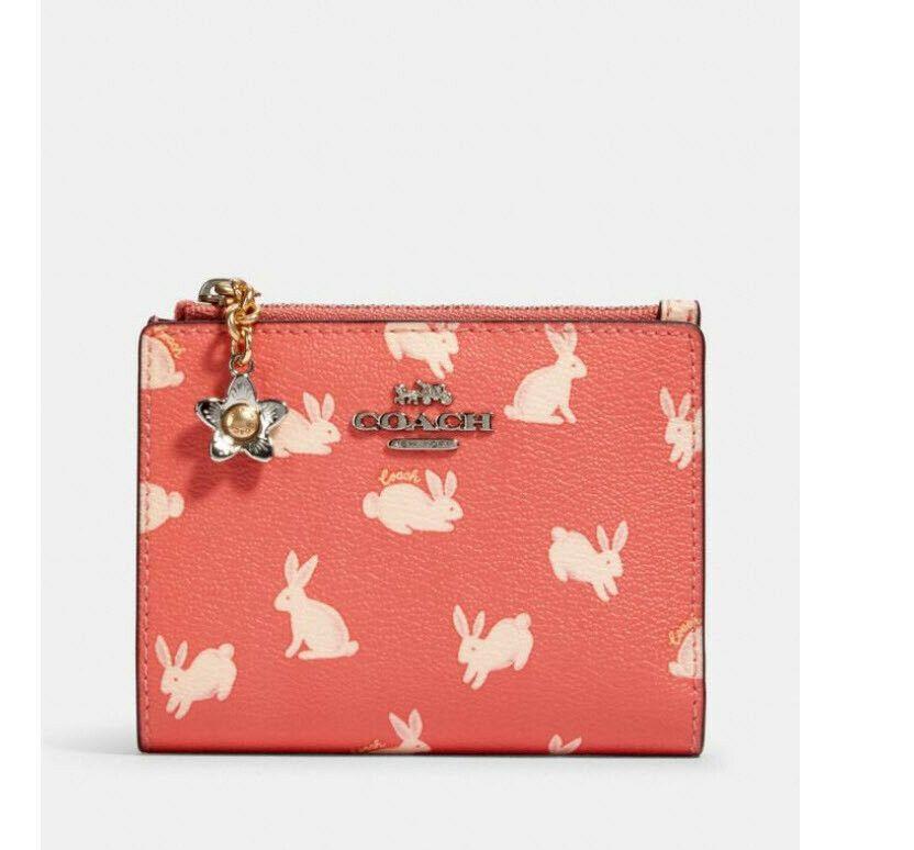 ️NWT Coach Snap Card Case Bunny Script Print 91200 wallet wristlet coin purse 193971671826 ...