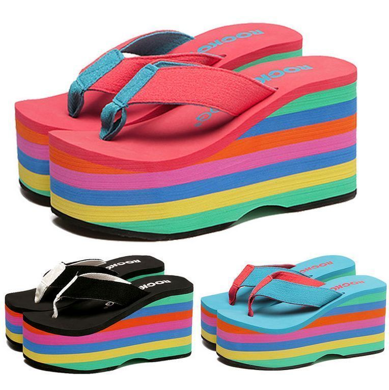Women S Rainbow Flip Flops Wedges High Heels Sandals Beach Shoes Creepers D939 Sandalias Plataforma Calzas Zapatos