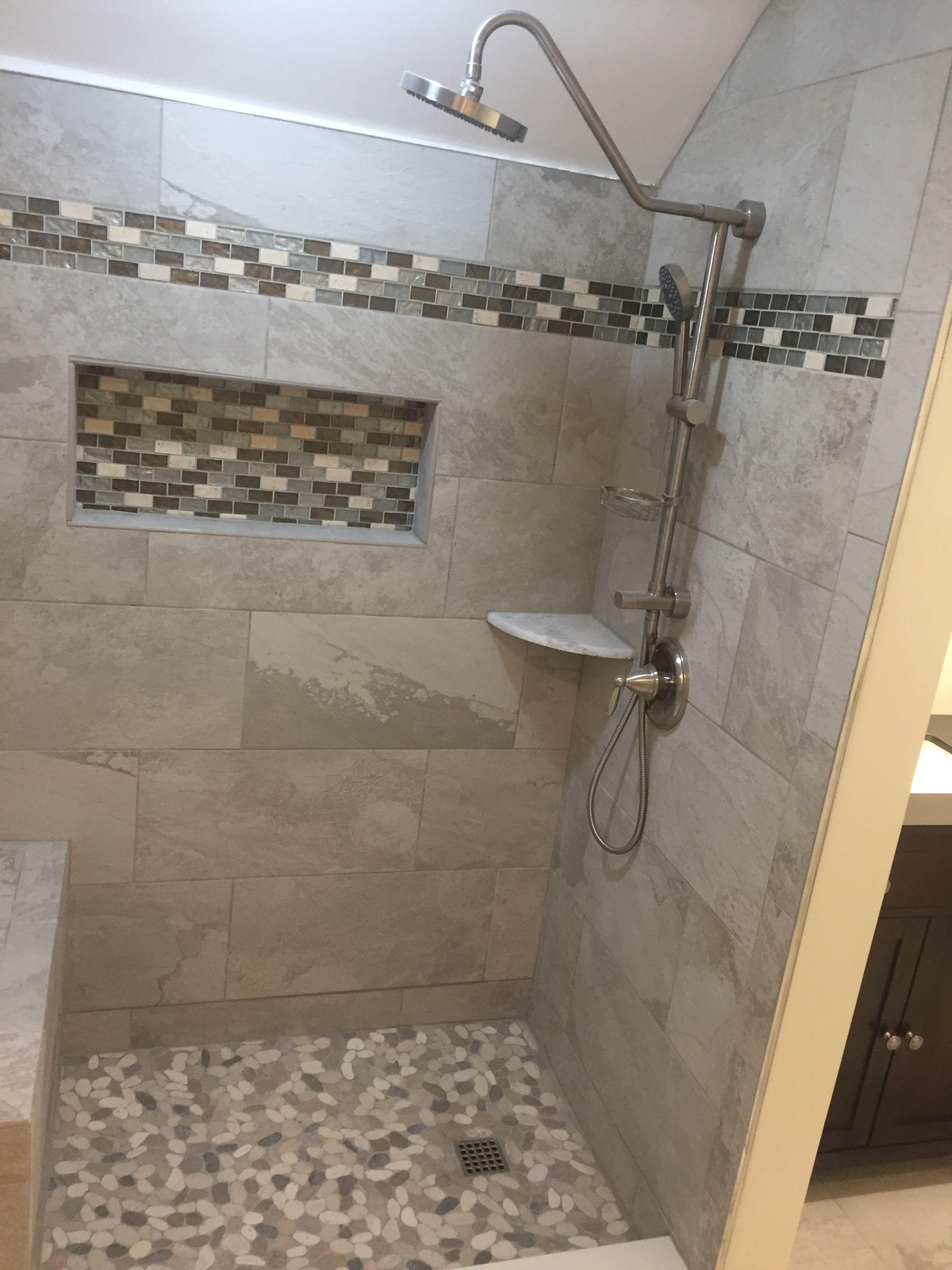 Mosaic border tiles bathrooms - Ivetta White Tiles And Mosaic Border Using The Durock Shower System Curb And Bench