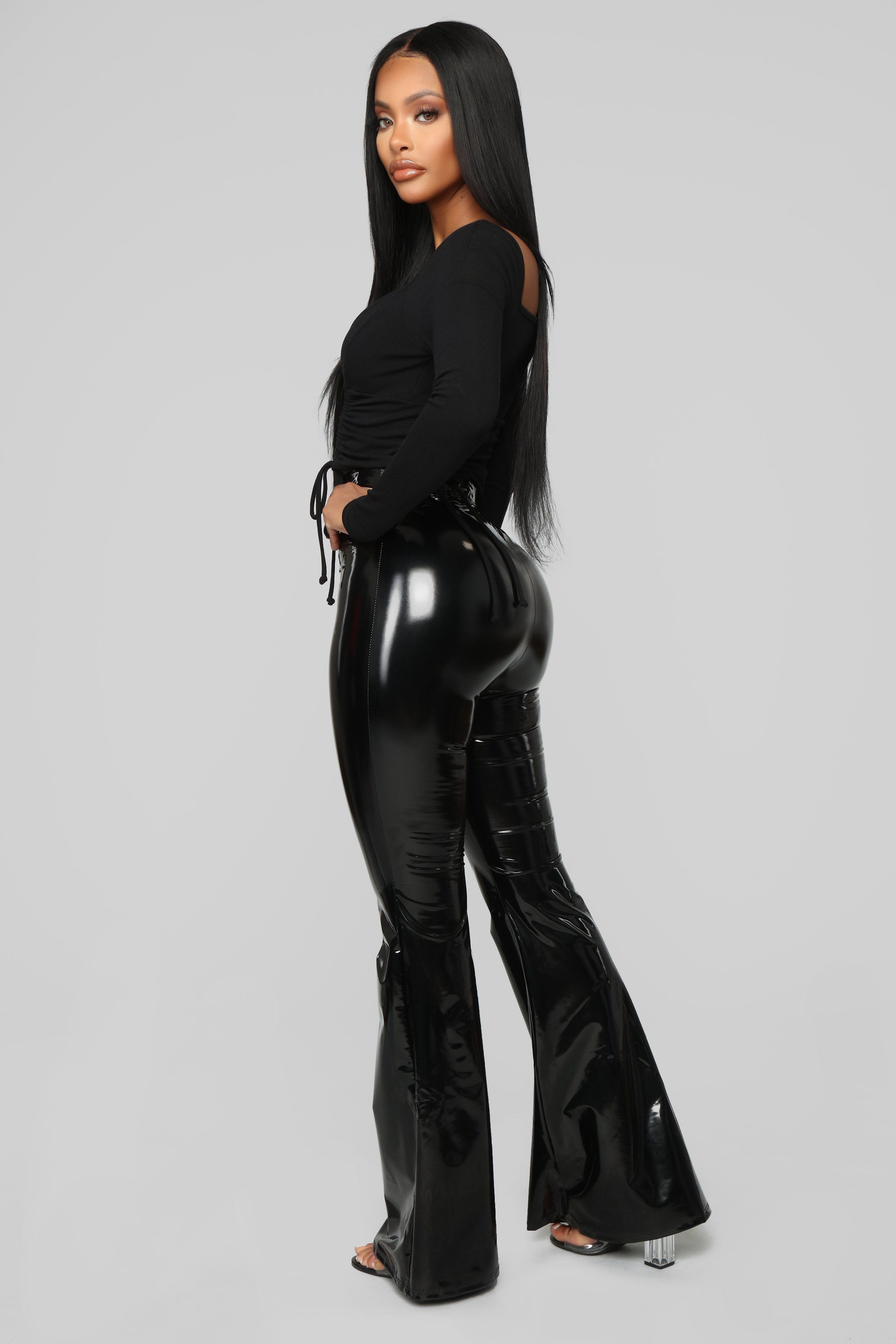 Wild Baby Vinyl Pants Black Fashion, Black pants