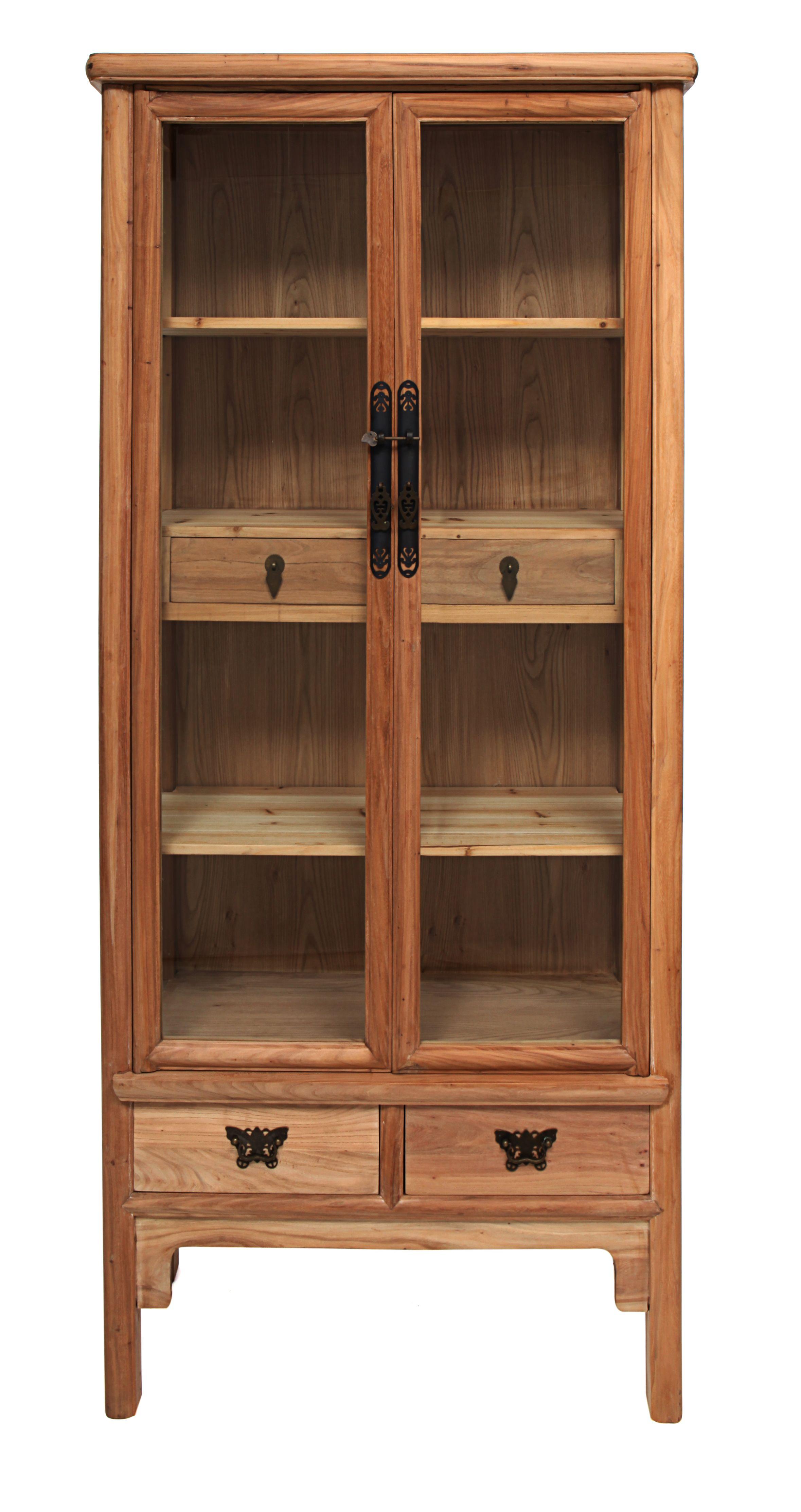 Vitrina en madera de olmo de 90 con cajones medida 90l x for Muebles de madera reciclada para cocina