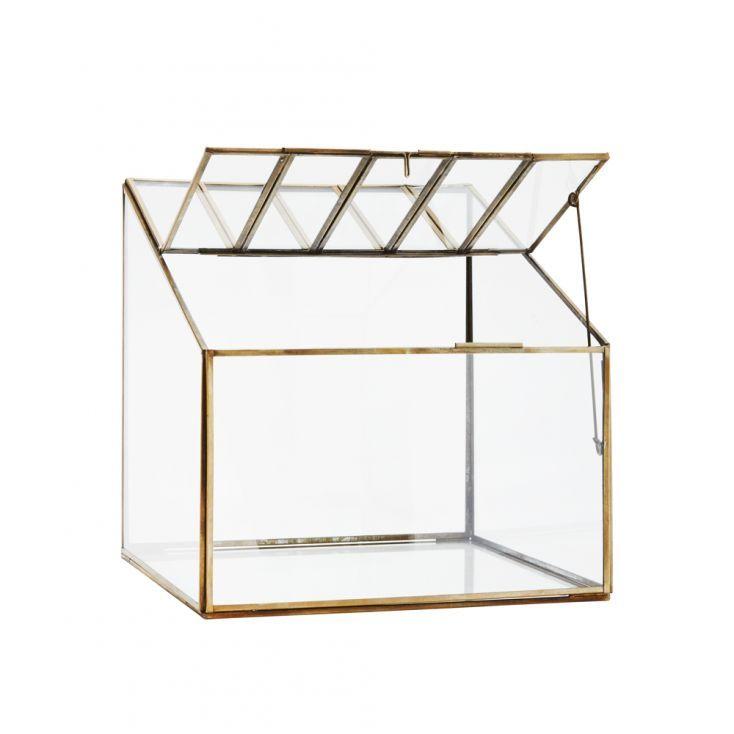 terrarium forme maison serre verre et metal or 24x24x19 cm doing goods howne notre jardin. Black Bedroom Furniture Sets. Home Design Ideas
