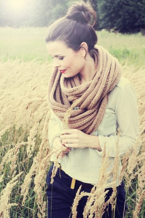 love the high bun and the scarf