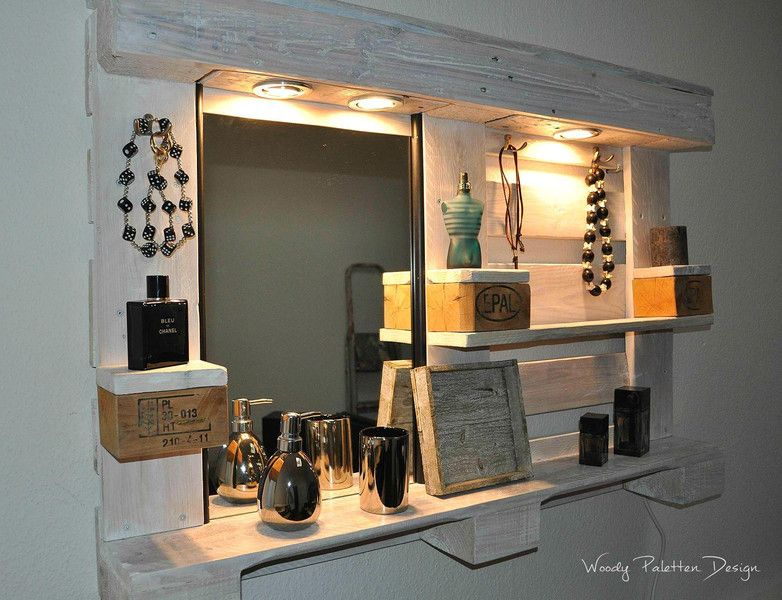 palettenm bel spiegelschrank no 01 von woody paletten design auf wohnung. Black Bedroom Furniture Sets. Home Design Ideas
