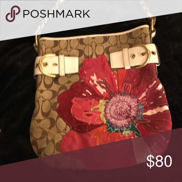 Coach poppy purse Coach handbag with leather and suede poppy flower appliqué  Limited edition Coach Bags b6dd026741