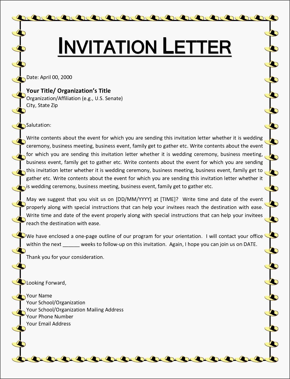 Invitation Letter Informal Saevk Beautiful Wedding