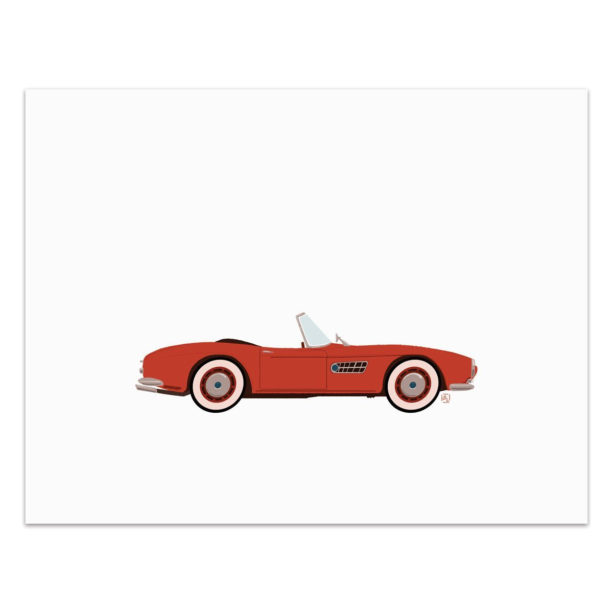 Cherry - Classic Convertible in Cherry Red - Art Print