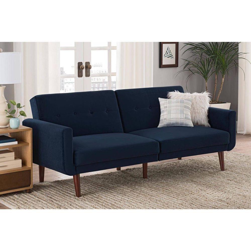 Small Sectional Sofa Covertible Wooden Frame Upholstered Futon Sofa Bed Sleeper Lounger Blue Velvet