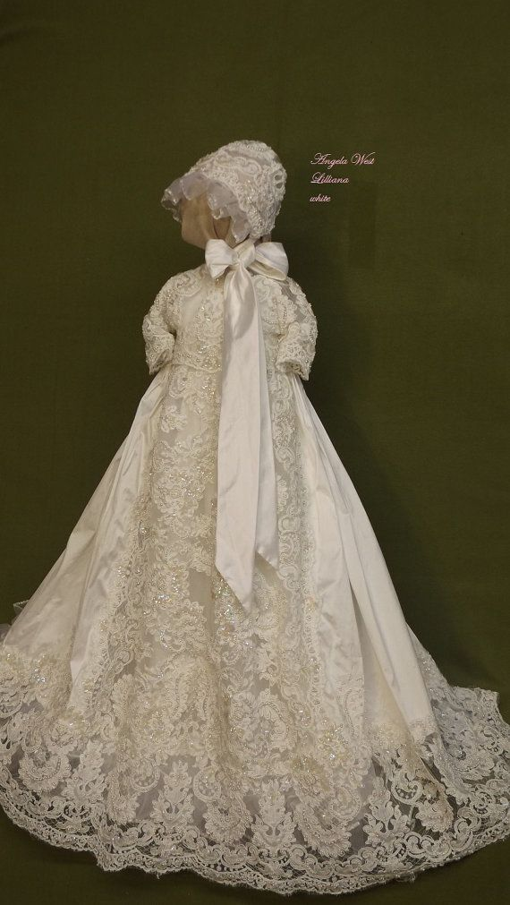 Lilliana ivory silk Christening gown set by Angela West Handcrafted ...