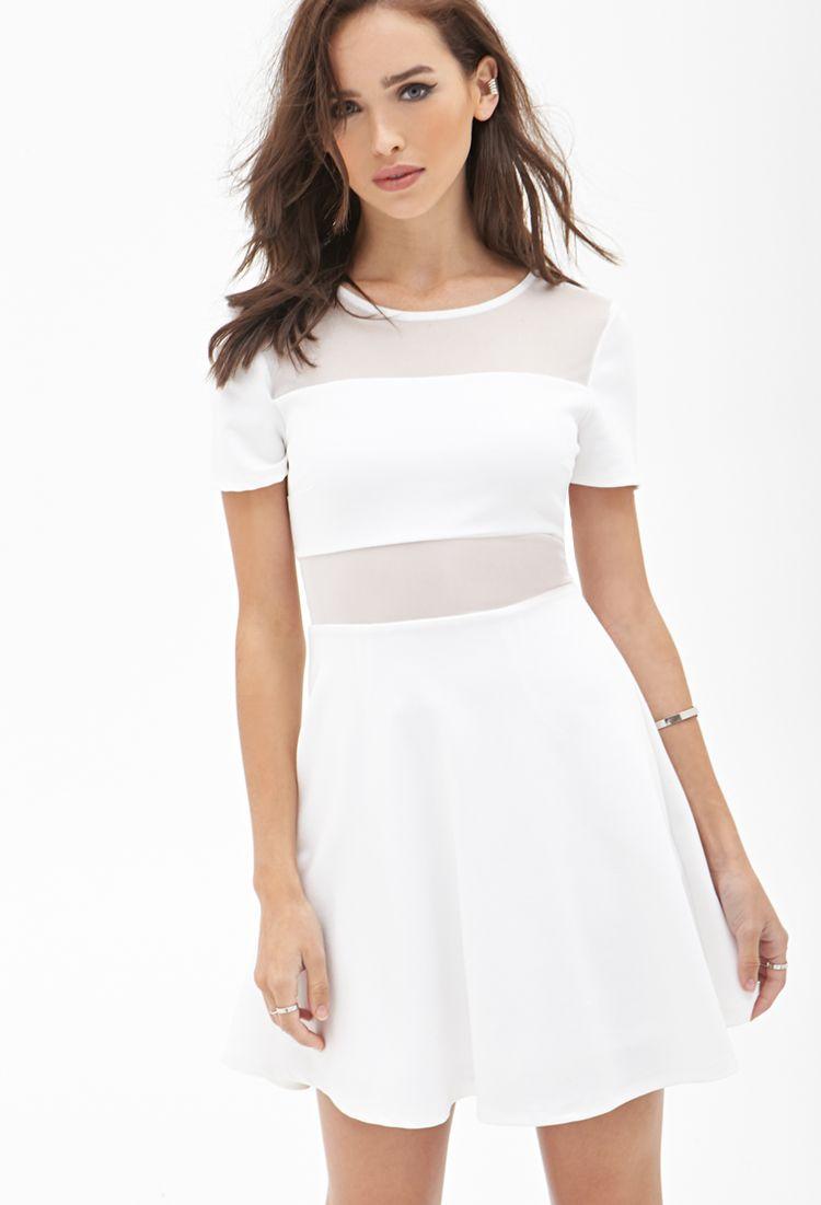 Mesh Paneled Skater Dress Forever21 Styleguide