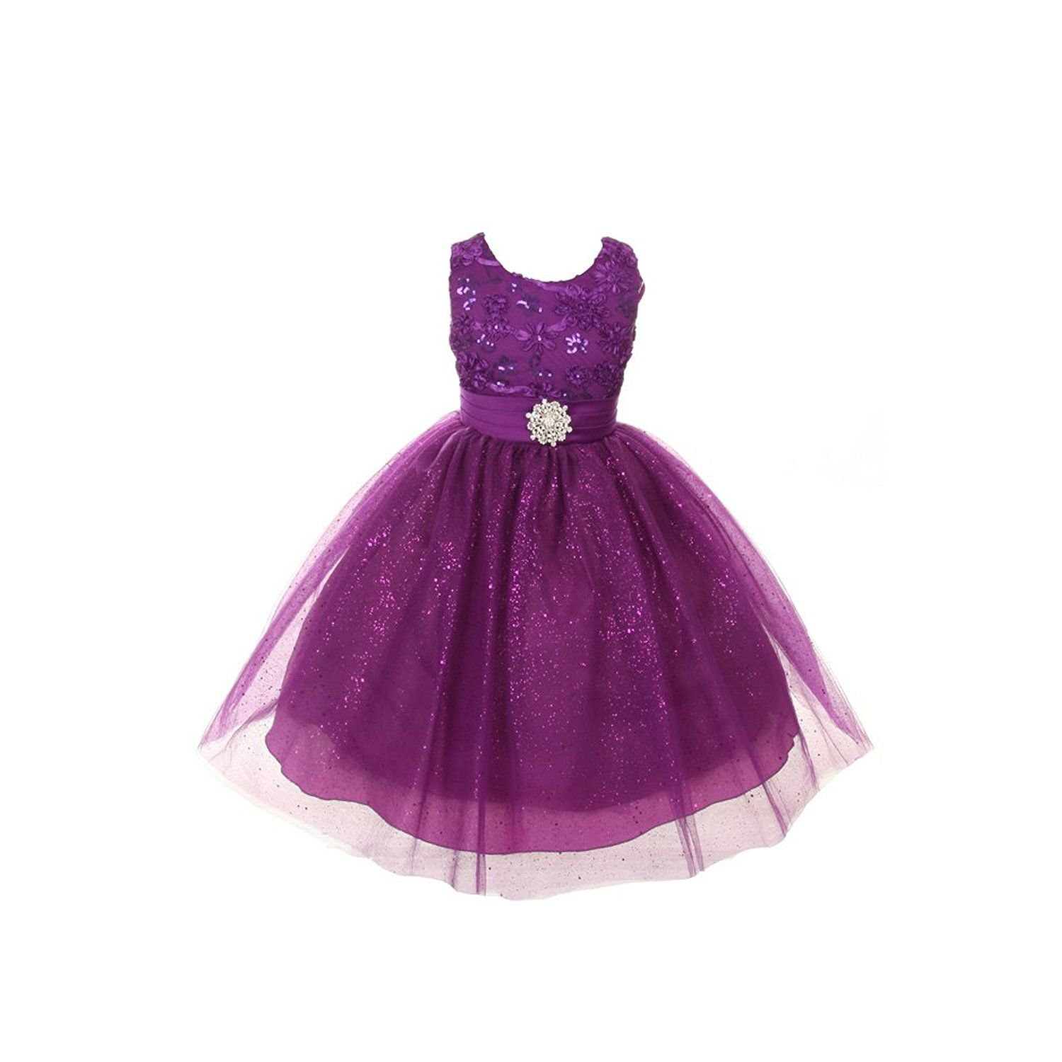 AmazonSmile: Rain Kids Little Girls Purple Sparkly Tulle Special ...