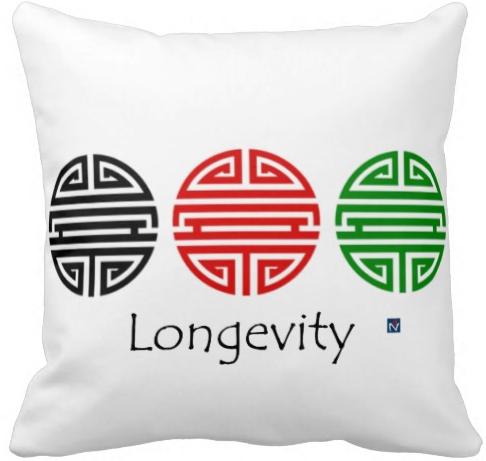 Chinese longevity symbol in black read and jade 27.95