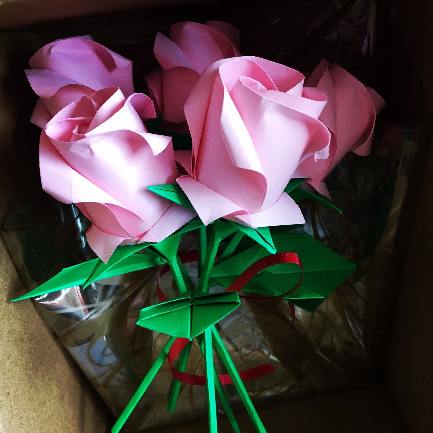 origami Roses - Rose bouquet - paper flowers - origami flowers - anniversary flower bouquet ...