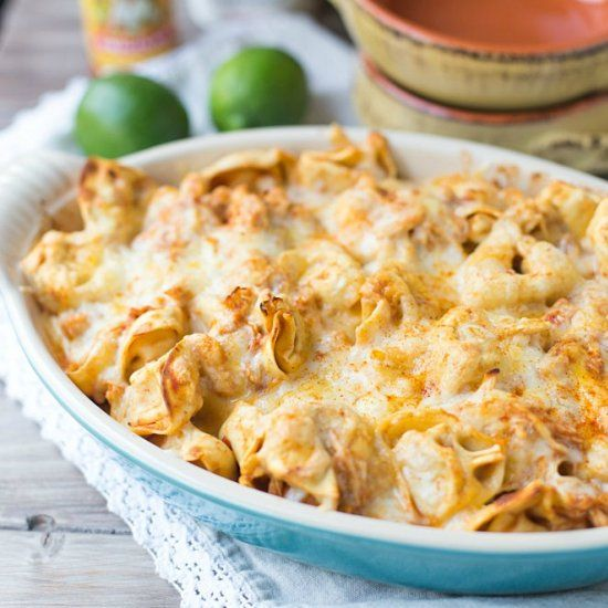 Chicken Enchilada Tortellini Bake. Five easy ingredients.