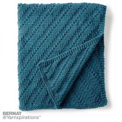Bernat Reversible Knit Lap Blanket Knit Pattern Yarnspirations
