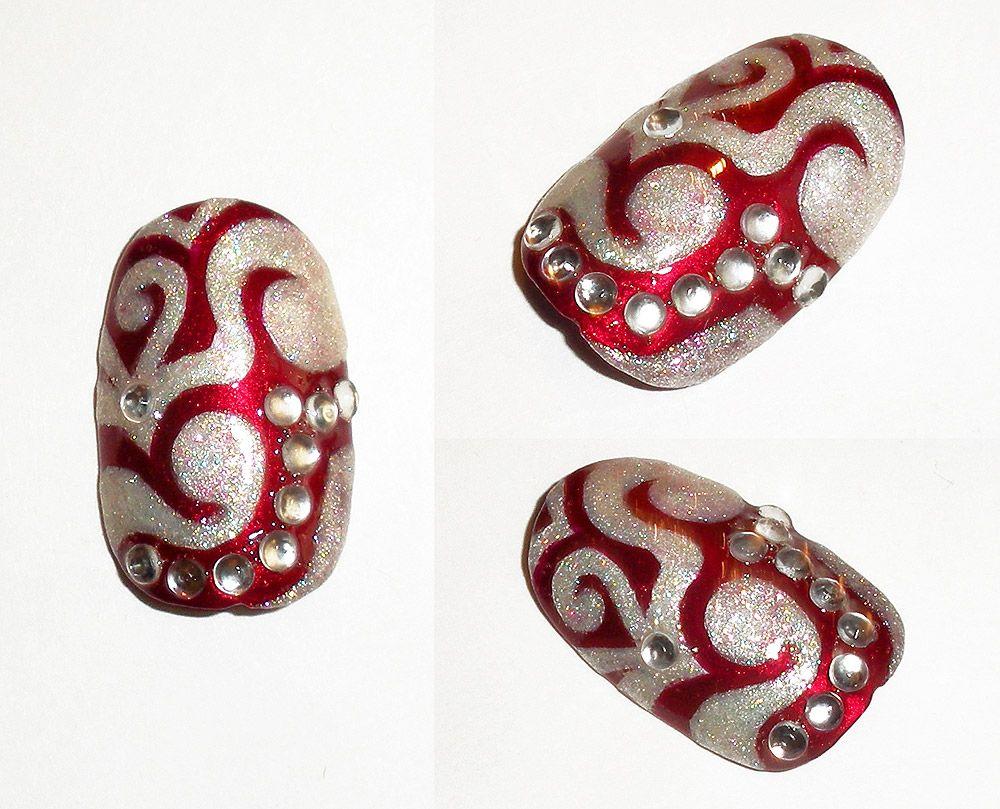 """Junkin'""  Freehand swirls with rhinestones. Polish Used:  Cover Girl Outlast - 185 | Sally Hansen Satin Glam - Crystalline"