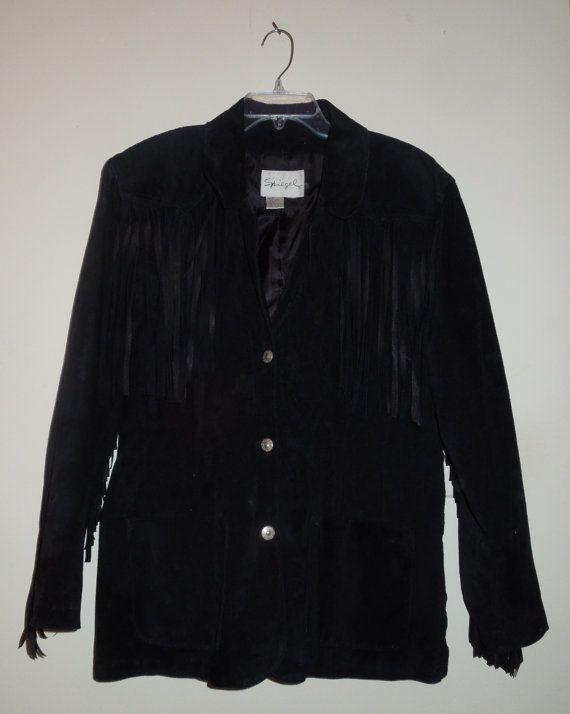Vintage Spiegel Black Suede Jacket with Fringe by RockinResale1