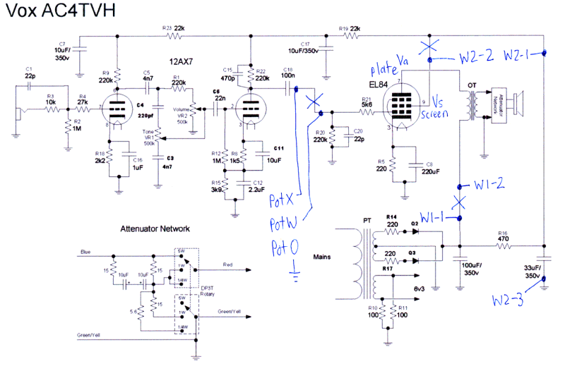 Afbeeldingsresultaat voor schematics vox ac4 | amps | Amp ... on