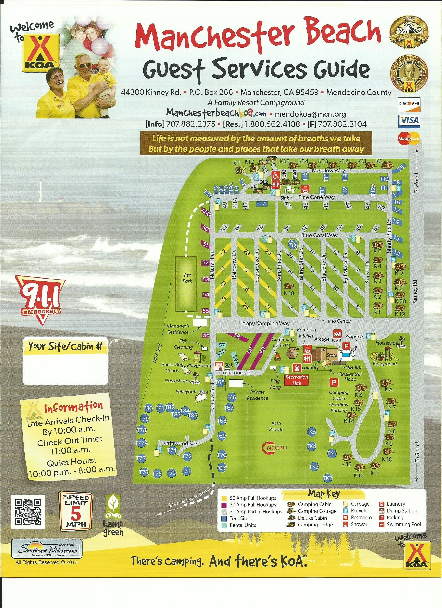 Mendocino KOA Campground Site Map | Camping Research in 2019 ... on
