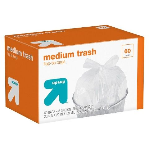 Medium Unscented Flap Tie Trash Bags 8 Gallon 60ct Up Up In 2020 Trash Bags Trash Gallon