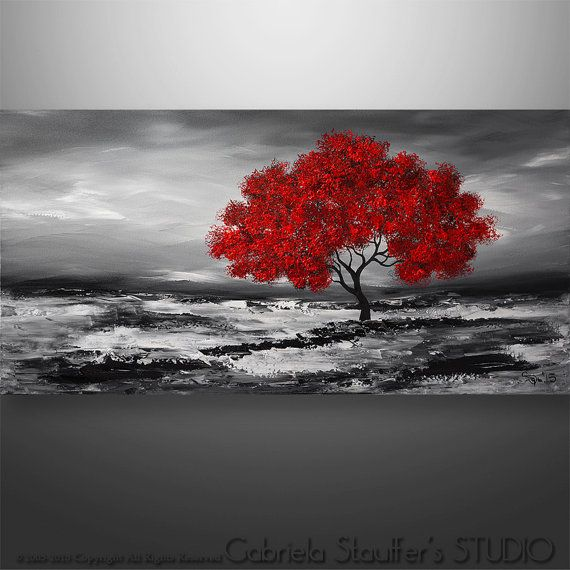 abstract painting original painting wall art landscape painting tree painting palette knife black white red painting wall decor 48