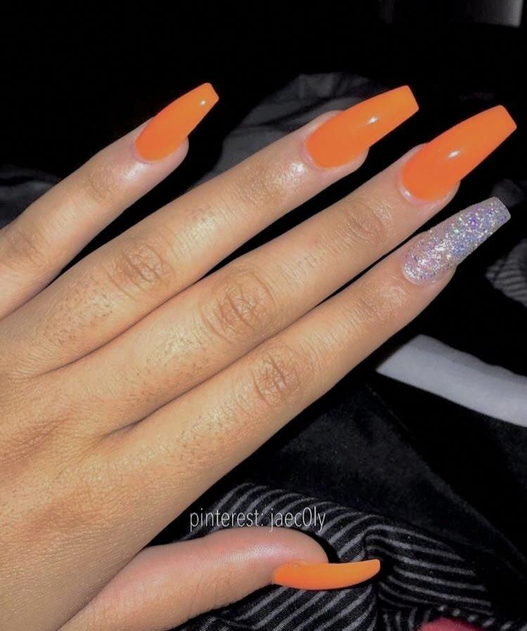 Pin By Taliyah On Baddie In 2020 With Images Coffin Nails Designs Orange Acrylic Nails Pretty Acrylic Nails
