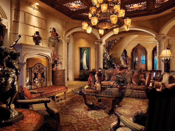 Mediterranean Tuscan World Decor: Grand!!! Living Room..Love The Celing & Lighting!
