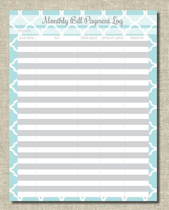 Monthly Bill Organizer  Organization Printables