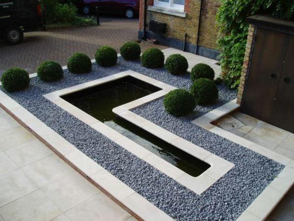 Quelques id es d 39 am nagement paysager devant maison jardin minimaliste am nagement paysager for Idee jardin devant maison